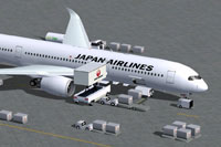 Screenshot of Japan Airlines Airbus A350-1000 with ground services.