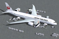 Screenshot of Japan Airlines Airbus A350-900 with ground services.