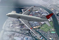 Screenshot of Japan Airlines Airbus A380-100 in flight.