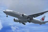 Screenshot of Japan Airlines Boeing 777-200 shortly after take-off.