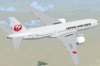 Screenshot of Japan Airlines Boeing 777-200ER in flight.