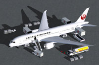 Screenshot of Japan Airlines Boeing 787-8 with ground services.
