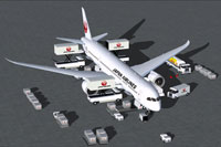 Screenshot of Japan Airlines Boeing 787-9 with ground services.