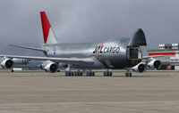 Screenshot of Japan Airlines Cargo Boeing 747-200F on the ground.