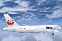Screenshot of Japan Airlines Boeing 777-200 in flight.