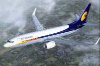 Screenshot of Jet Airways Boeing 737-800WL in flight.
