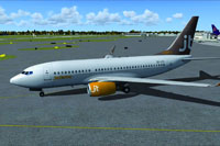 Screenshot of Jet Time Boeing 737-700 on the ground.
