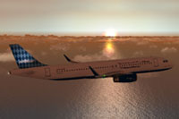 Screenshot of JetBlue Airbus A320-200 in flight.