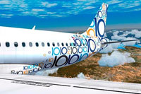 Screenshot showing off the colorful livery of this JetBlue Airbus A320-232.