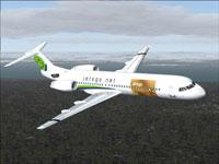 Screenshot of Jetsgo Fokker 100 V2 MasterCard in flight.