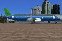 Screenshot of Journey Air And Hotel Airbus A321 on the ground.