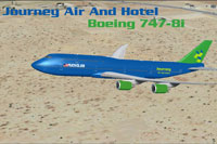 Screenshot of Journey Air And Hotel Boeing 747-8i in flight.