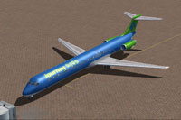 Screenshot of Journey PETS McDonnell Douglas MD-83 at the gate.