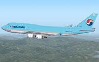 Screenshot of KAL Cargo Boeing 747-400 in flight.
