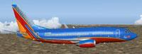 Screenshot of KH Southwest Airlines Boeing 737-700 in flight.