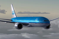 Screenshot of KLM 2004 Boeing 777-200LR in flight.