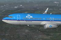 Screenshot of KLM Boeing 737-8K2 in flight.