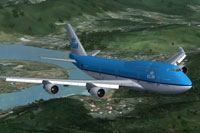 Screenshot of KLM Boeing 747-406M in flight.