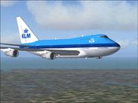 Screenshot of KLM Boeing 747SP in flight.