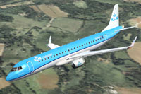 Screenshot of Embraer 190 PH-EXD in flight.