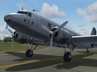 Close up of KLM Douglas DC-2 on runway.