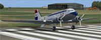 Screenshot of KLM Douglas DC-3A on runway.