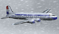 Screenshot of KLM Douglas DC-4 flying through heavy snow.