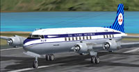 Screenshot of KLM Douglas DC-6 on runway.