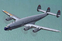 Screenshot of KLM L-749 Constellation 'Batavia' in flight.