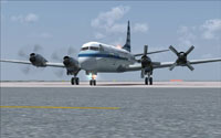 Screenshot of KLM Lockheed Electra II on the ground.