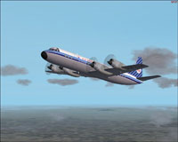 Screenshot of KLM Lockheed L-188 Electra in the air.