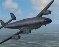 Screenshot of KLM Lockheed L-749 Constellation in flight.