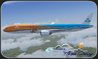 "Screenshot of KLM ""Orange Koningtag Special"" 777-300ER in flight."