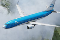 Screenshot of KLM Royal Dutch Airlines Boeing 737-800 in flight.