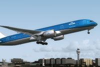 Screenshot of KLM Royal Dutch Airlines Boeing 787-9 taking off.