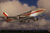Screenshot of Kalitta Air Boeing 747-2B4B SF taking off.
