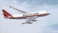Screenshot of Kalitta Air Boeing 747-4HQF in flight.