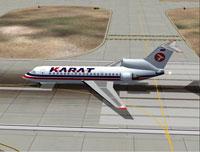 Screenshot of Karat Airlines Yak-42 on runway.