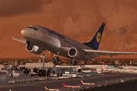 "Screenshot of Lufthansa ""Karlsruhe"" Boeing 737-700 taking off."