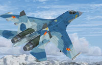 Screenshot of Su-27 Flanker B+ in flight.