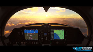 3D virtual cockpit with sun flare.