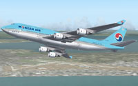 Screenshot of Korean Air Boeing 747-400F in flight.