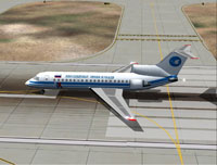 Screenshot of Kuban Airlines Yak-42 on runway.