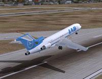 Screenshot of LAB Boeing 727-200 taking off.