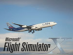 Splash Screen using a photo of LAN Airbus A340-300, landing at Auckland Airport in the afternoon.