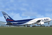 Screenshot of LAN Boeing 767-316/ER on the ground.