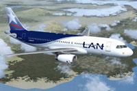 Screenshot of LAN Chile Airbus A320-232 in flight.