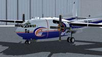 LEAS Air Cargo GLB Fairchild C119 outside the hangar.