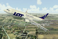 Screenshot of LOT Polish Airlines Boeing 737-800 in flight.