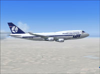 Screenshot of LOT Polish Airlines Boeing 747-400 in flight.
